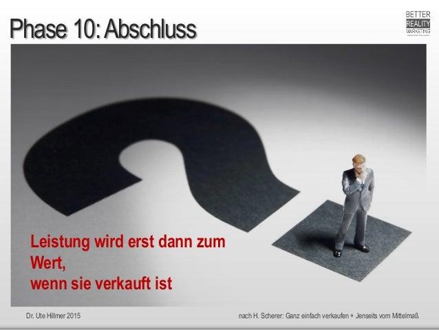 Dr. Ute Hillmer 2015 nach H. Scherer: Ganz einfach verkaufen + Jenseits vom Mittelmaß Phase 10:Abschluss Leistung wird ers...
