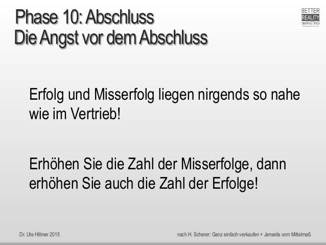 Dr. Ute Hillmer 2015 nach H. Scherer: Ganz einfach verkaufen + Jenseits vom Mittelmaß DieAngst vor demAbschluss Erfolg und...