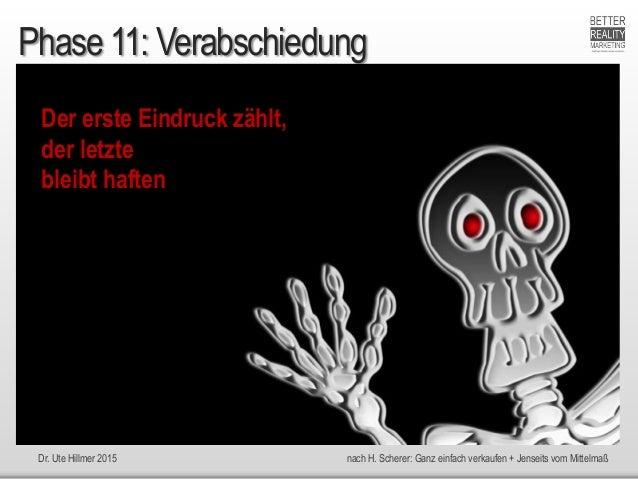 Dr. Ute Hillmer 2015 nach H. Scherer: Ganz einfach verkaufen + Jenseits vom Mittelmaß Phase 11: Verabschiedung Der erste E...