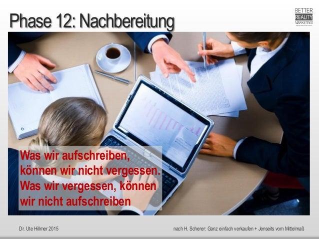Dr. Ute Hillmer 2015 nach H. Scherer: Ganz einfach verkaufen + Jenseits vom Mittelmaß Phase 12: Nachbereitung Was wir aufs...