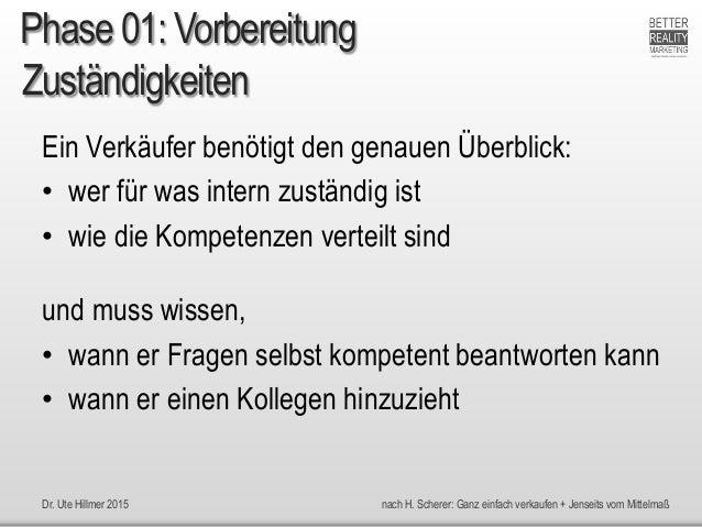 Dr. Ute Hillmer 2015 nach H. Scherer: Ganz einfach verkaufen + Jenseits vom Mittelmaß Zuständigkeiten Ein Verkäufer benöti...