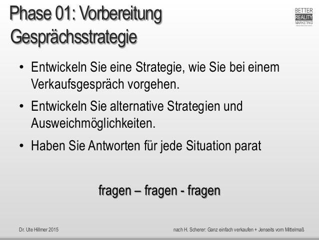 Dr. Ute Hillmer 2015 nach H. Scherer: Ganz einfach verkaufen + Jenseits vom Mittelmaß Gesprächsstrategie • Entwickeln Sie ...