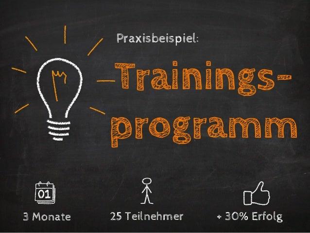 Praxisbeispiel:           Trainings-           programm3 Monate   25 Teilnehmer      + 30% Erfolg