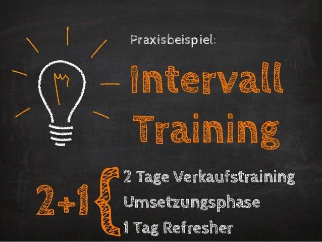 Praxisbeispiel:          Intervall          Training      {          2 Tage Verkaufstraining2+1       Umsetzungsphase     ...