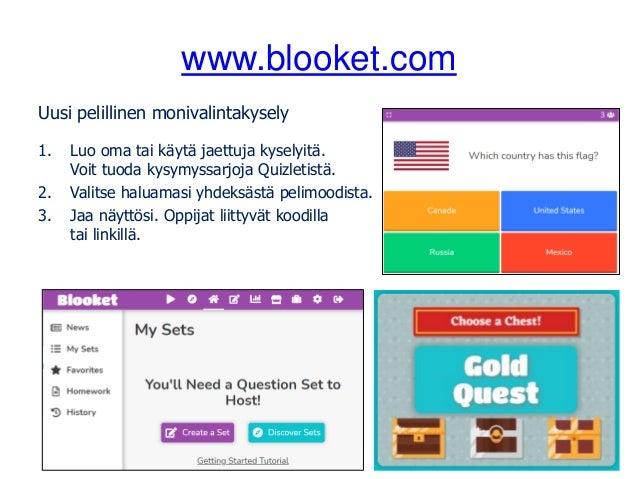 www.blooket.com Uusi pelillinen monivalintakysely 1. Luo oma tai käytä jaettuja kyselyitä. Voit tuoda kysymyssarjoja Quizl...