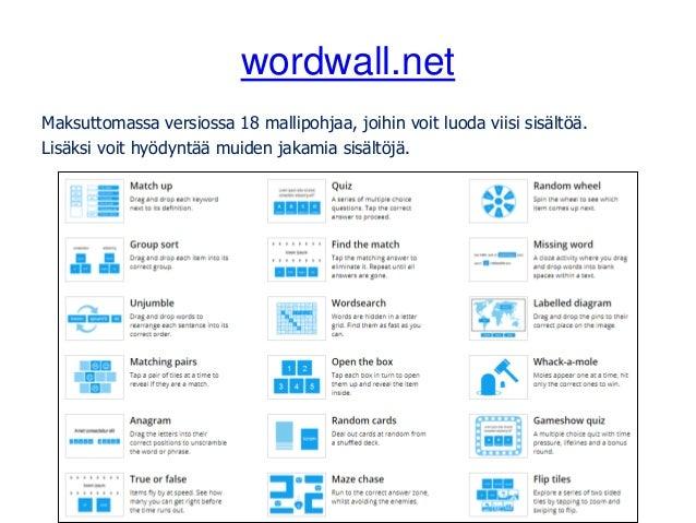 wordwall.net Maksuttomassa versiossa 18 mallipohjaa, joihin voit luoda viisi sisältöä. Lisäksi voit hyödyntää muiden jakam...
