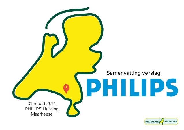 31 maart 2014 PHILIPS Lighting Maarheeze Samenvatting verslag