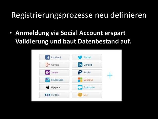 Registrierungsprozesse neu definieren • Anmeldung via Social Account erspart Validierung und baut Datenbestand auf.