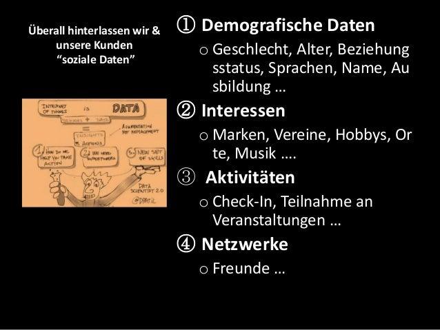 """Überall hinterlassen wir & unsere Kunden """"soziale Daten"""" ① Demografische Daten o Geschlecht, Alter, Beziehung sstatus, Spr..."""