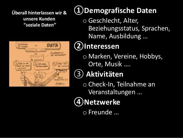 """Überall hinterlassen wir & unsere Kunden """"soziale Daten"""" ①Demografische Daten o Geschlecht, Alter, Beziehungsstatus, Sprac..."""