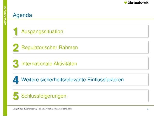14 www.oeko.de Längerfristige Zwischenlagerung│Kallenbach-Herbert│Hannover│05.02.2015 Agenda Ausgangssituation1 Regulatori...