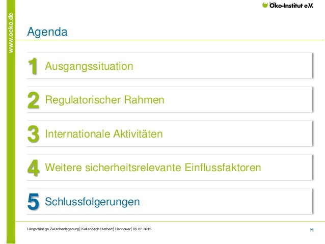 16 www.oeko.de Längerfristige Zwischenlagerung│Kallenbach-Herbert│Hannover│05.02.2015 Agenda Ausgangssituation1 Regulatori...