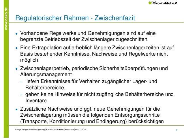 8 www.oeko.de Regulatorischer Rahmen - Zwischenfazit ● Vorhandene Regelwerke und Genehmigungen sind auf eine begrenzte Bet...