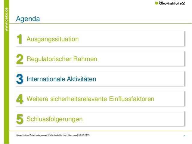 9 www.oeko.de Längerfristige Zwischenlagerung│Kallenbach-Herbert│Hannover│05.02.2015 Agenda Ausgangssituation1 Regulatoris...