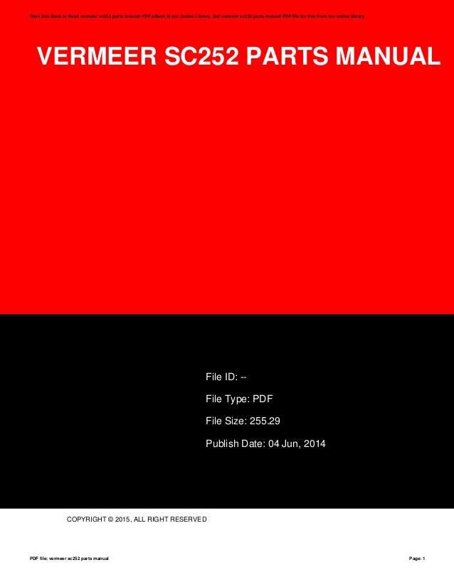 Vermeer Sc252 Parts Manual