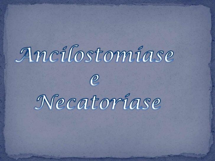 A Ancilostomíase e a Necatoríase são duasdoenças semelhantes causadaspelos nematódeos Ancylostoma duodenalee Necator ameri...