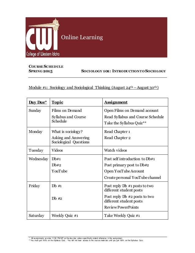 sociology and course syllabus soc 100