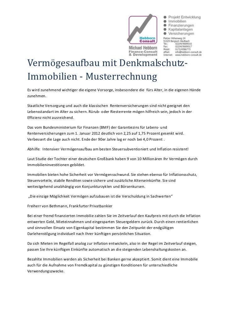 VermögesaufbaumitDenkmalschutz‐Immobilien‐MusterrechnungEswirdzunehmendwichtigerdieeigeneVorsorge,insbesonde...