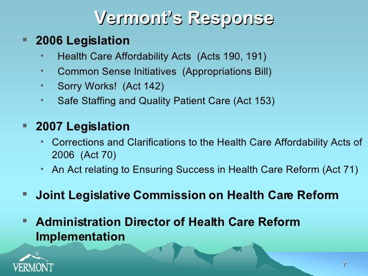 healthcare reform in vermont The official website of the state of vermont - your gateway to information about living, working, visiting, and doing business in vermont, and to vermont state government.