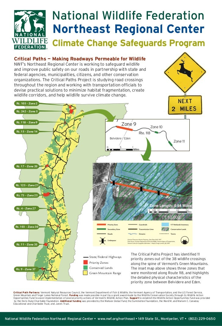 Climate Change Safeguards Program     Critical Paths — Making Roadways Permeable for Wildlife     NWF's Northeast Regional...