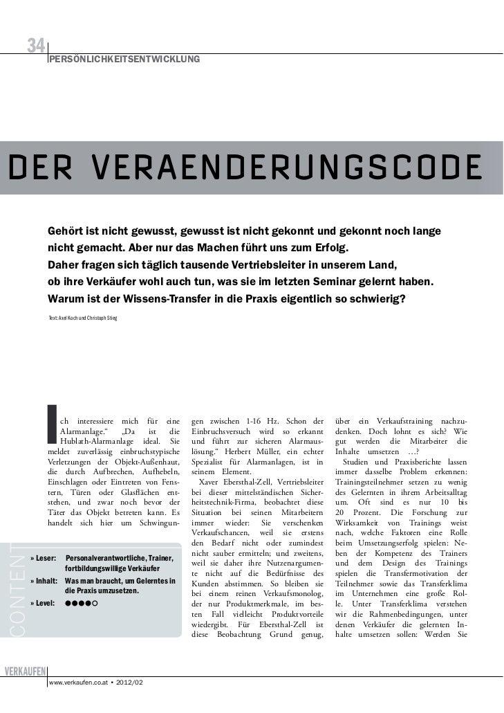 34DER VERAENDERUNGSCODE     Text: Axel Koch und Christoph Stieg I       ch interessiere mich für eine         Alarmanlage....