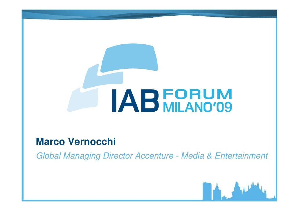 Marco Vernocchi Global Managing Director Accenture - Media & Entertainment