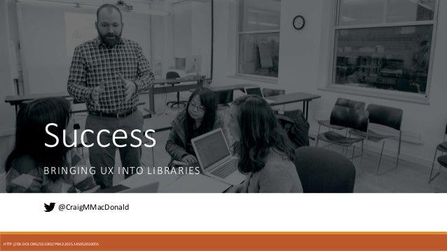 Success BRINGING UX INTO LIBRARIES @CraigMMacDonald HTTP://DX.DOI.ORG/10.1002/PRA2.2015.145052010055