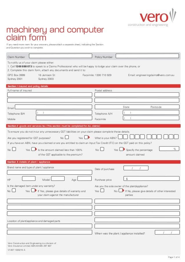 vero machinery breakdown claim form