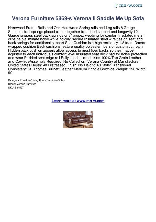 Verona Furniture 5869-s Verona Ii Saddle Me Up SofaHardwood Frame Rails and Oak Hardwood Spring rails and Leg rails 8 Gaug...