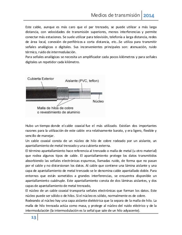 Medios de transmisión 2014 13 Este cable, aunque es más caro que el par trenzado, se puede utilizar a más larga distancia,...