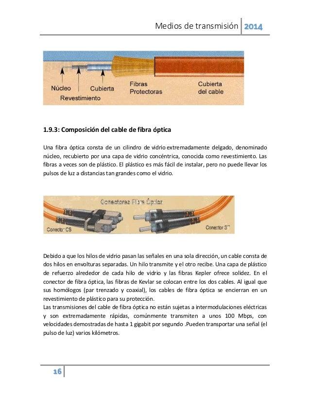 Medios de transmisión 2014 16 1.9.3: Composición del cable de fibra óptica Una fibra óptica consta de un cilindro de vidri...