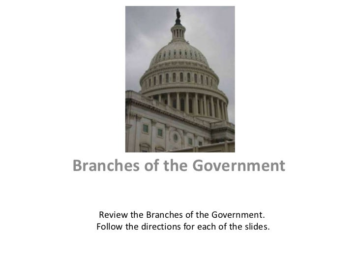 Branches of the Government   Review the Branches of the Government.  Follow the directions for each of the slides.