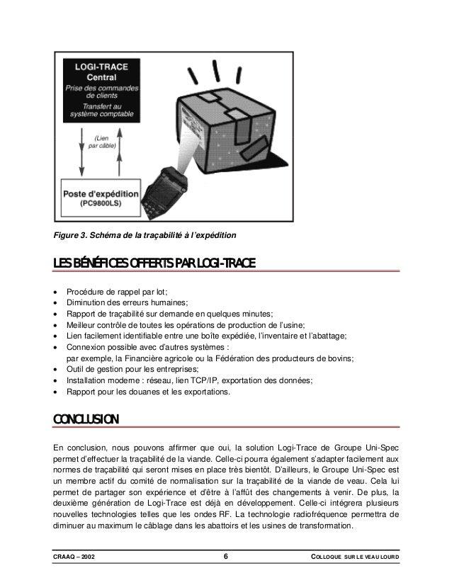 CRAAQ – 2002 COLLOQUE SUR LE VEAU LOURD6 Figure 3. Schéma de la traçabilité à l'expédition LES BÉNÉFICES OFFERTS PAR LOGI-...
