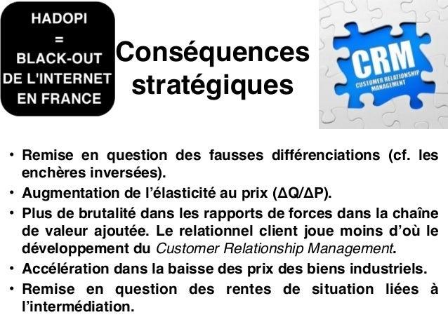 Conséquences stratégiques • Apparition de nouveaux compétiteurs sans intensité capitalistique.! • Apparition de nouveaux d...