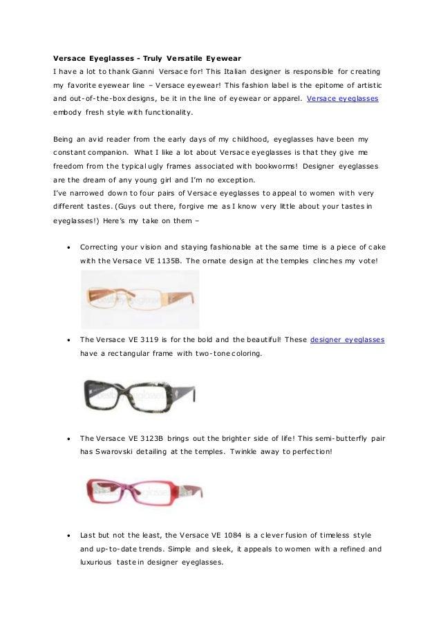 5cf24e69b3dc Versace eyeglasses truly versatile eyewear