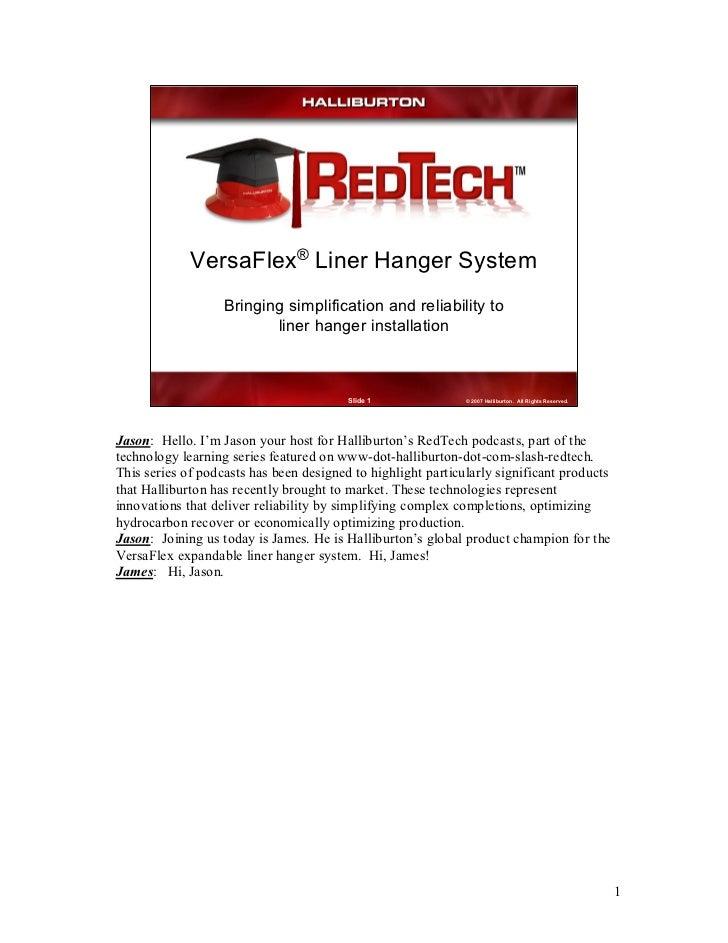 ®             VersaFlex LinerHangerSystem                   Bringingsimplificationandreliabilityto              ...