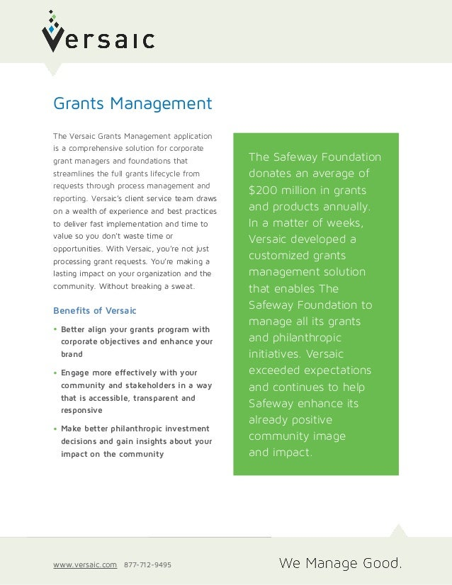 Technology Management Image: Versaic Grants Management