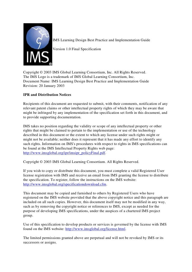 IMS Learning Design Best Practice and Implementation Guide                   Version 1.0 Final SpecificationCopyright © 20...