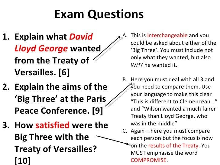treaty of versailles bullet points