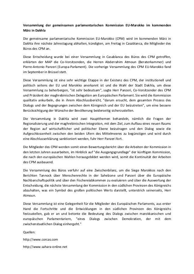 Versammlung der gemeinsamen parlamentarischen Kommission EU-Marokko im kommenden März in Dakhla Die gemeinsame parlamentar...
