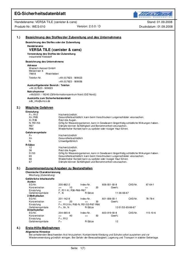 Stand: 01.09.2008Handelsname: VERSA TILE (canister & cans) Druckdatum: 01.09.2008Produkt-Nr.: WES-010 Version: 2.0.0 / D E...
