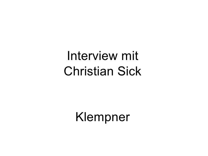 Interview mit Christian Sick Klempner