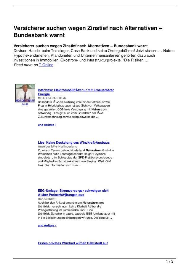 Versicherer suchen wegen Zinstief nach Alternativen –Bundesbank warntVersicherer suchen wegen Zinstief nach Alternativen –...