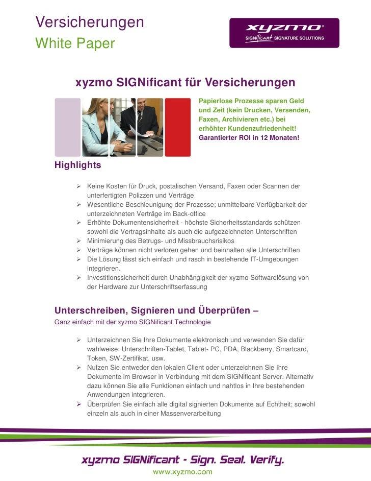 Versicherungen White Paper          xyzmo SIGNificant für Versicherungen                                                 P...