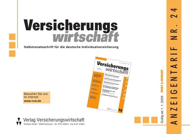 ANZEIGENTARIF NR. 24 Versicherungs     wirtschaft Halbmonatsschrift für die deutsche Individualversicherung               ...
