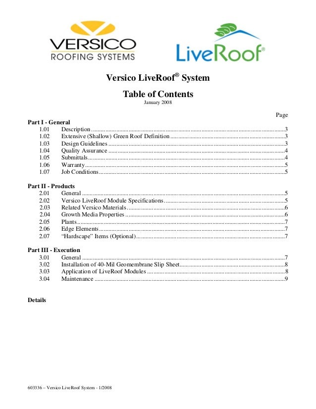 Versico LiveRoof® System                                                        Table of Contents                         ...