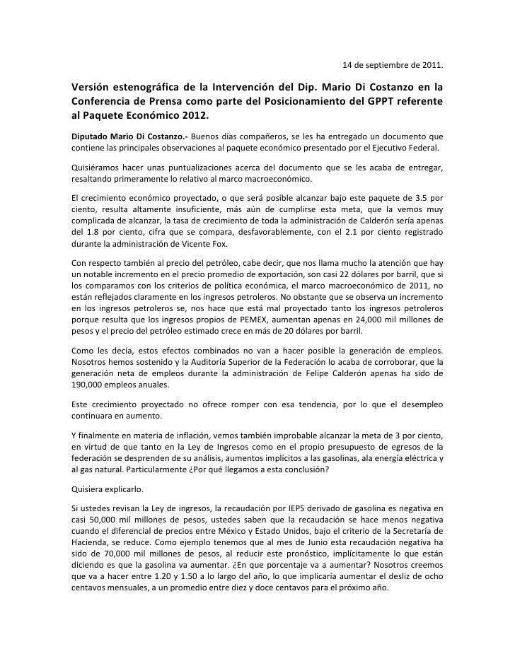 14 de septiembre de 2011.<br />Versión estenográfica de la Intervención del Dip. Mario Di Costanzo en la Conferencia de Pr...