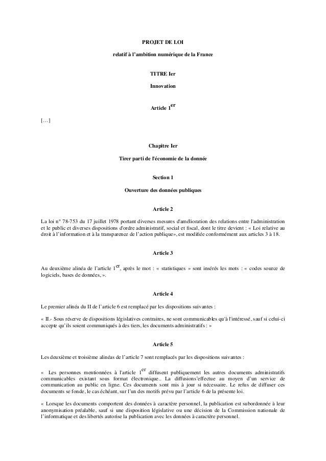 PROJET DE LOI relatif à l'ambition numérique de la France TITRE Ier Innovation Article 1er […] Chapitre Ier Tirer parti de...