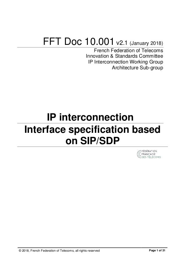 Version 2 1 interface SIP FFTelecoms pour interconnexion voix (versio…