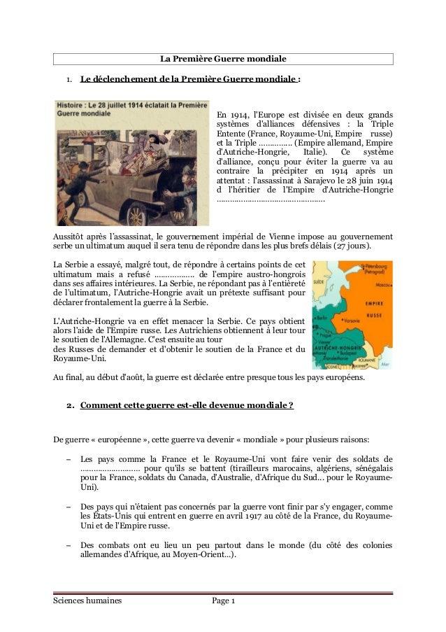 La Première Guerre mondiale   1. Le déclenchement de la Première Guerre mondiale :                                        ...